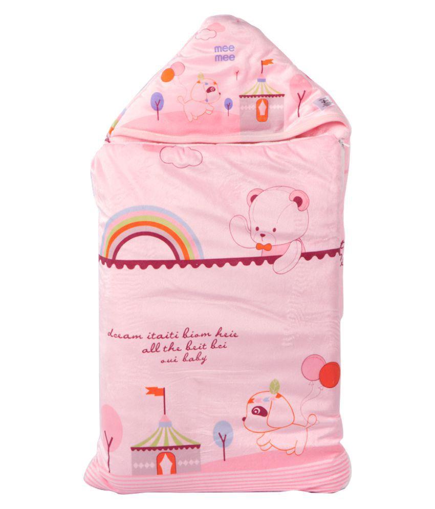 Mee Mee Pink Cotton Baby Wrap cum blanket ( 42 cm × 3 cm - 1 pcs)