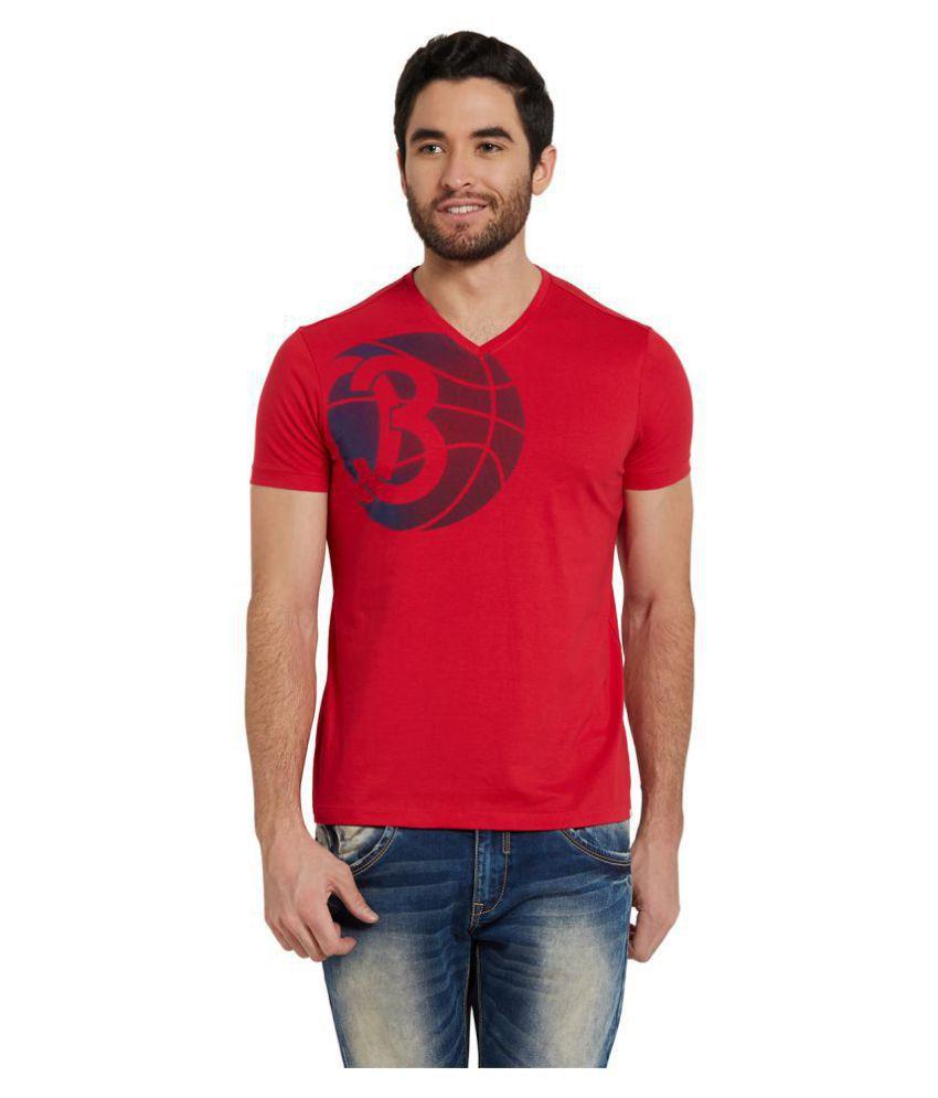 Spykar Red V-Neck T-Shirt Pack of 1