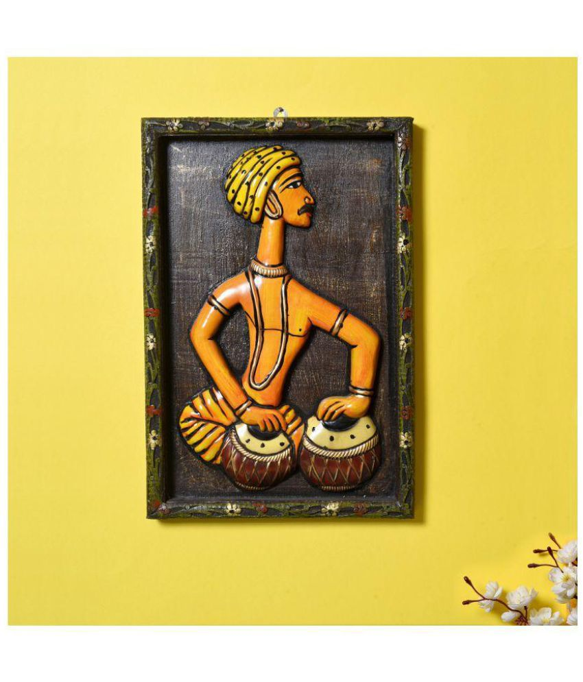 Unravel India Unravel India Wooden tribal musician Wall Painting Wood Painting With Frame