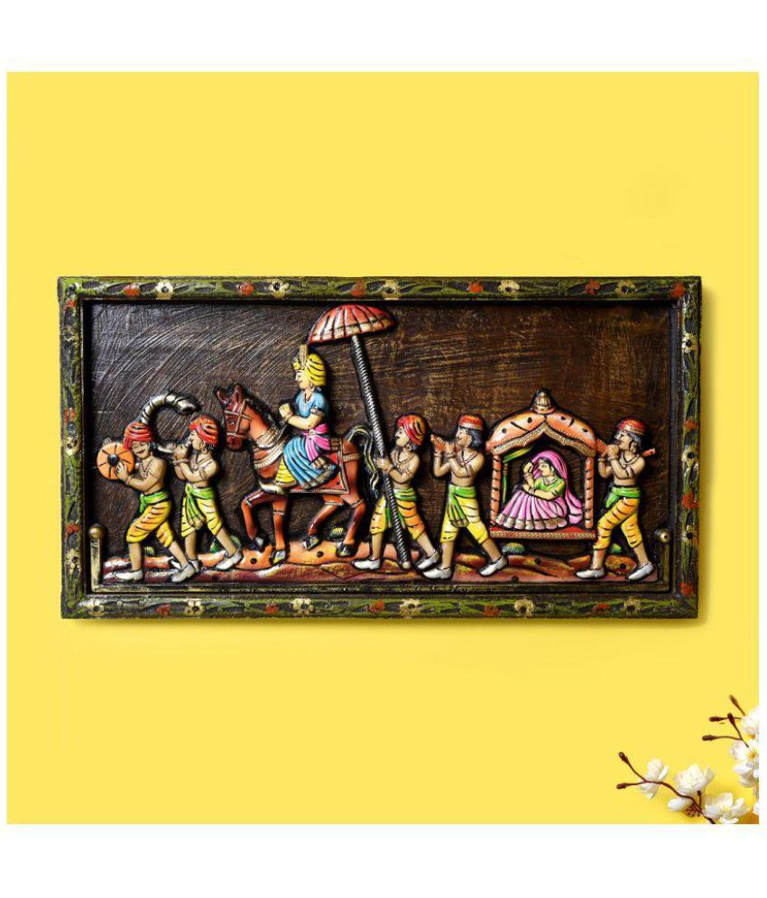 Unravel India Unravel India Wooden procession Wall painting Wood Painting With Frame