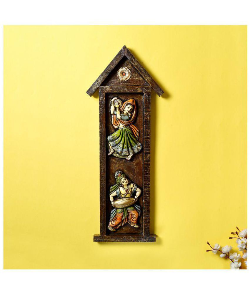 Unravel India Unravel India Wooden Radha Krishna wall painting Wood Painting With Frame