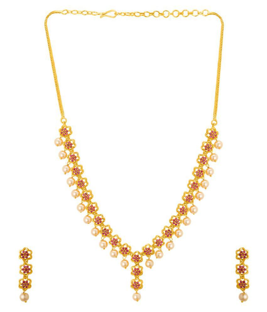 Voylla Floral Necklace Set with Pearls and Red CZ