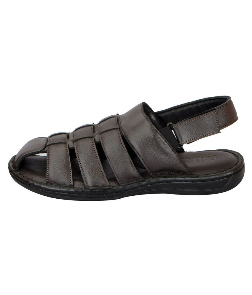468eebef955d FAUSTO Men s Leather Brown Sandals Price in India- Buy FAUSTO Men s ...