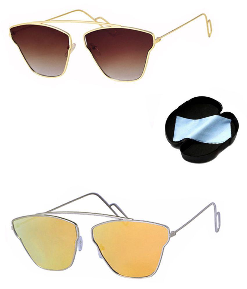 Lee Topper Orange Aviator Sunglasses ( SAG-027 )