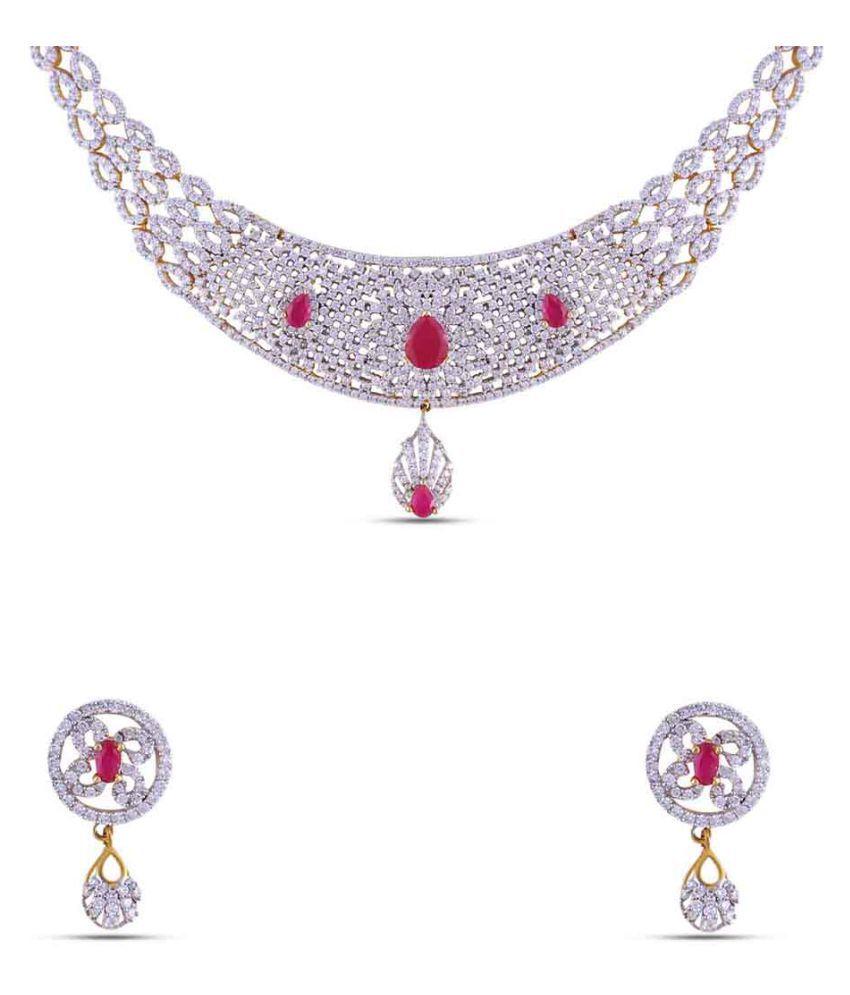 Maalyaa Brass Ad Necklace Set for Women & Girls