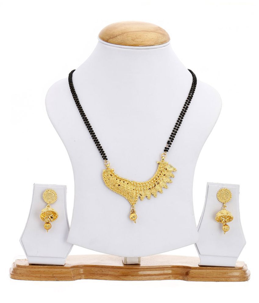 Zeneme Women's Pride Fashionable Gold Plated Mangalsutra Pendant with Chain & Earring Set Jewellery for Women