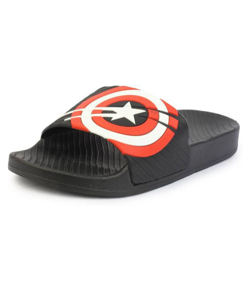 cf551281e3b3 Attrix CAPTAIN AMERICA Black Slide Flip flop Price in India- Buy Attrix CAPTAIN  AMERICA Black Slide Flip flop Online at Snapdeal