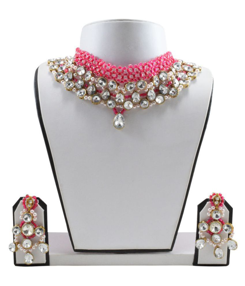 Fashionvalley Pink Crystal Beads Designer Kundan Necklace Set for Women & Girls