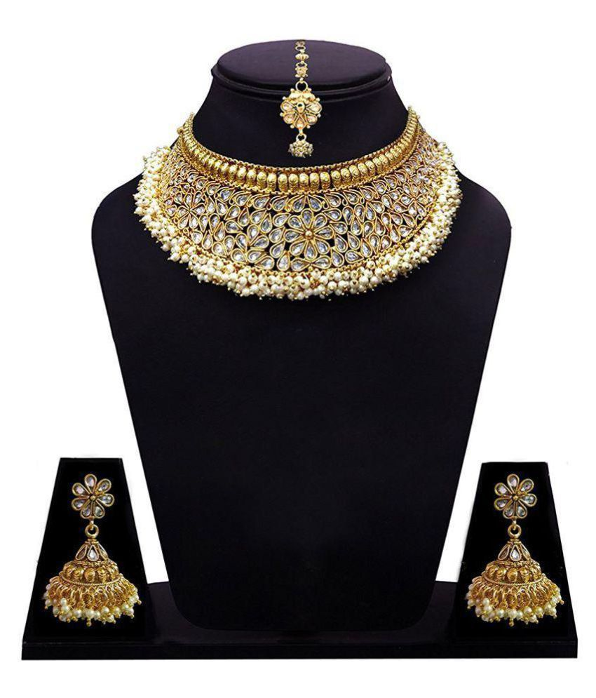 Khushiyan 18 K Gold Plated Antique Rajwadi Fashion/Imitation Jewellery Stone Choker Necklace Set for Girls and Women for Wedding and Festivals