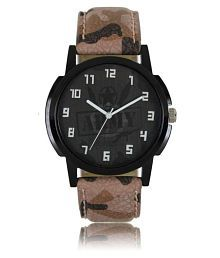 Maan Interantioanl Stylish Army Dial Brown Leather Strap 003 Analogue Watch