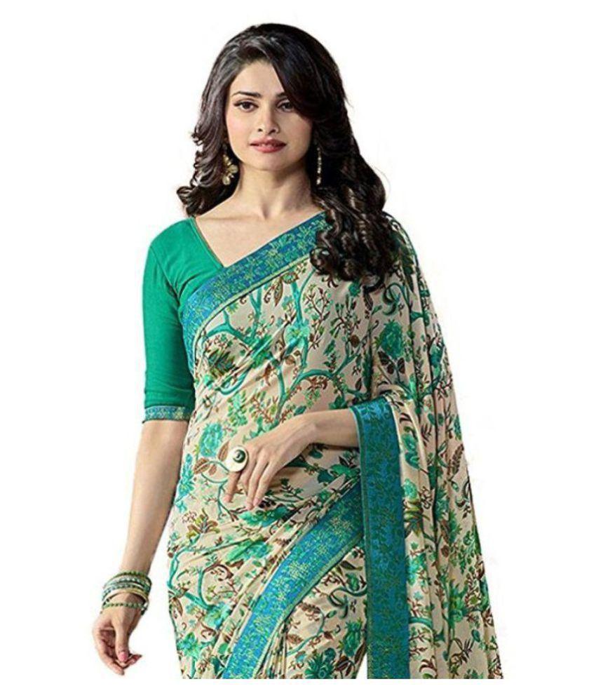 b6f5dde02c Gazal Fashions Green and Grey Chiffon Saree - Buy Gazal Fashions ...