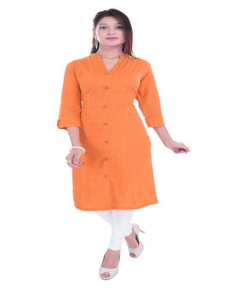 HEMANGI FASHIONS & ARTS Orange Cotton Straight Kurti