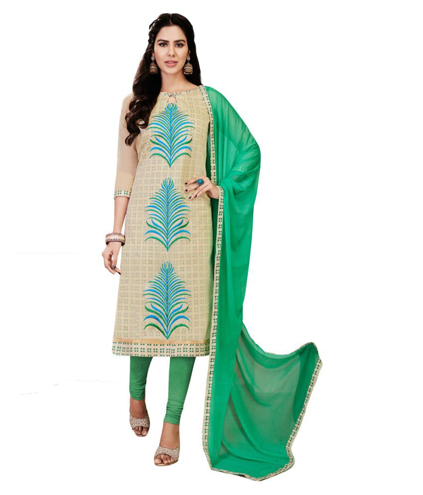 1e6e9adb03 UMANG NX Green and Beige Chanderi Dress Material - Buy UMANG NX Green and Beige  Chanderi Dress Material Online at Best Prices in India on Snapdeal