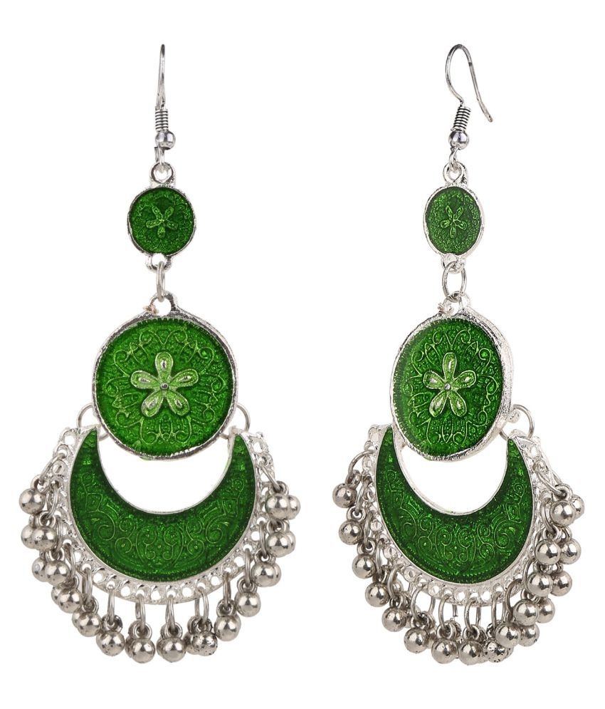 Archi Collection Designer Oxidised Silver Plated Enamel Handmade Green Afghani Hook Dangler Earring for Girls and Women