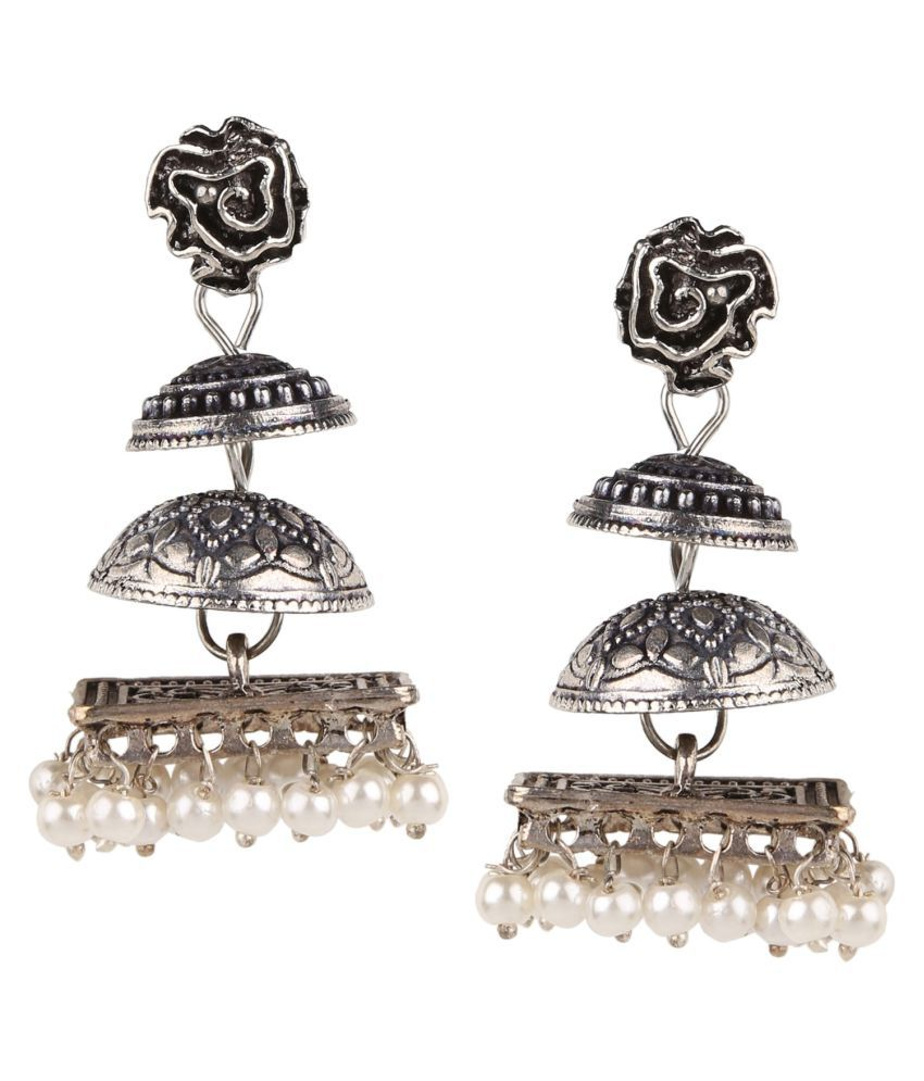Archi Collection Oxidised Silver Plated Stylish Fancy Party Wear Dangler Earrings with White Pearl Drops Jewellery for Girls and Women