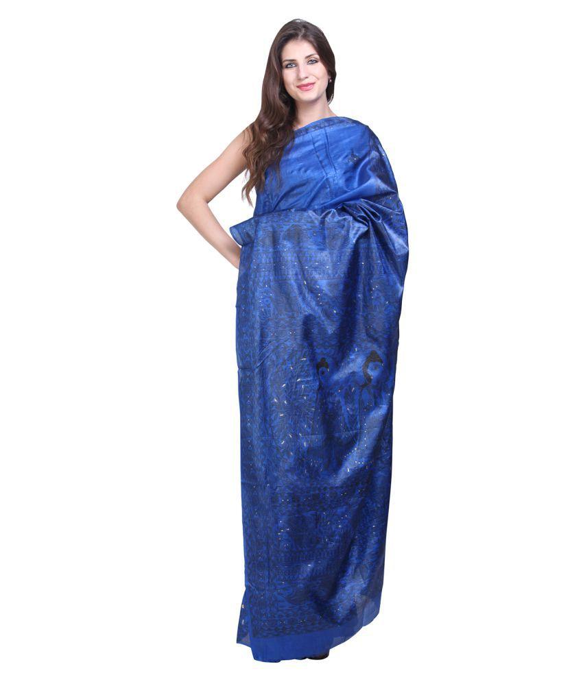 iMithila Blue Mulberry Silk Saree