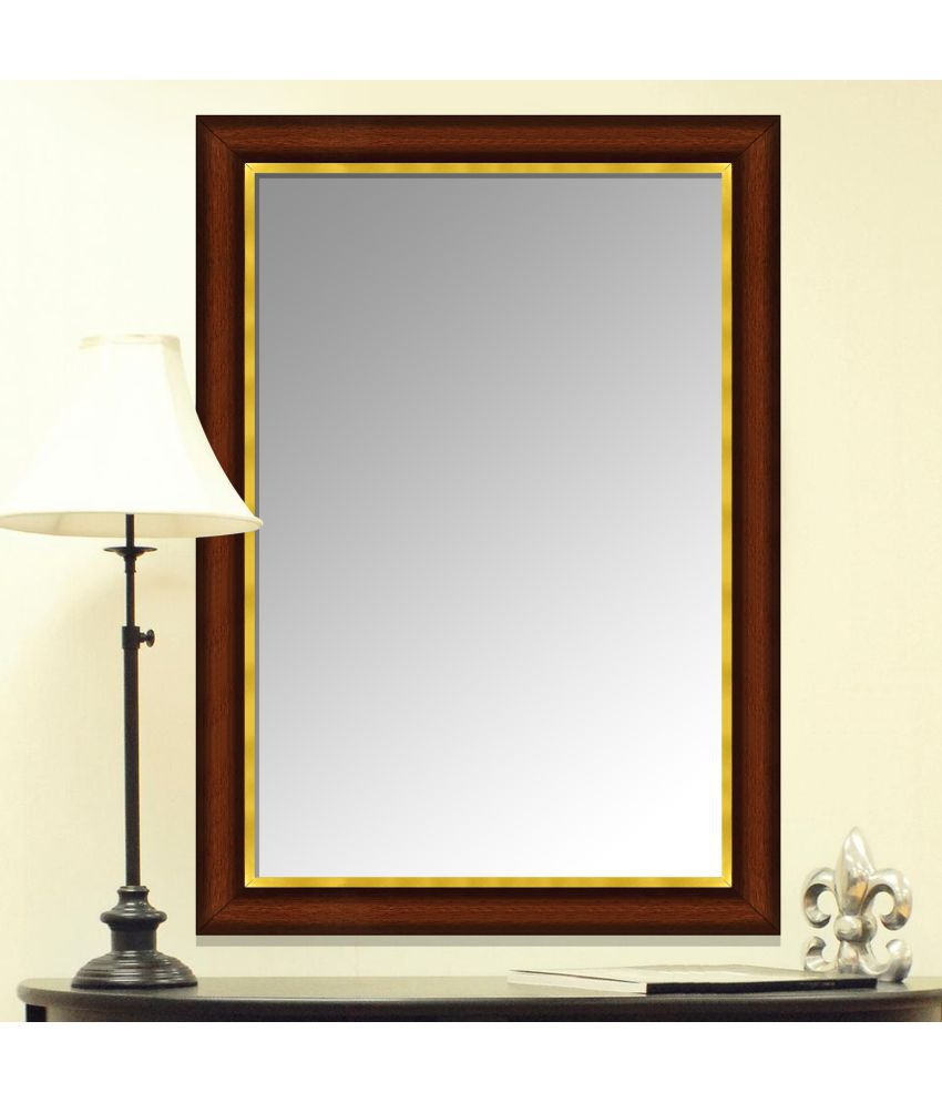 IMAGINATIONS Mirror Wall Mirror Brown - Pack of 1
