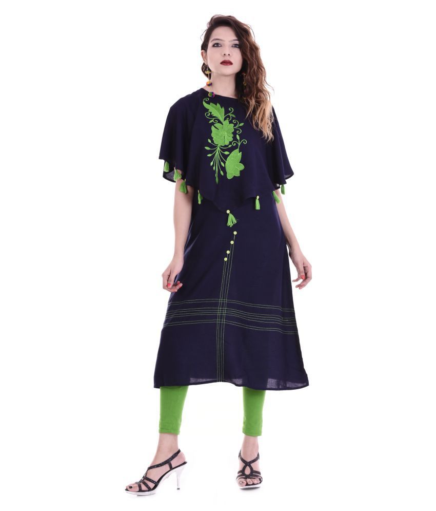 Maa Laxmi Garments Navy Rayon A-line Kurti