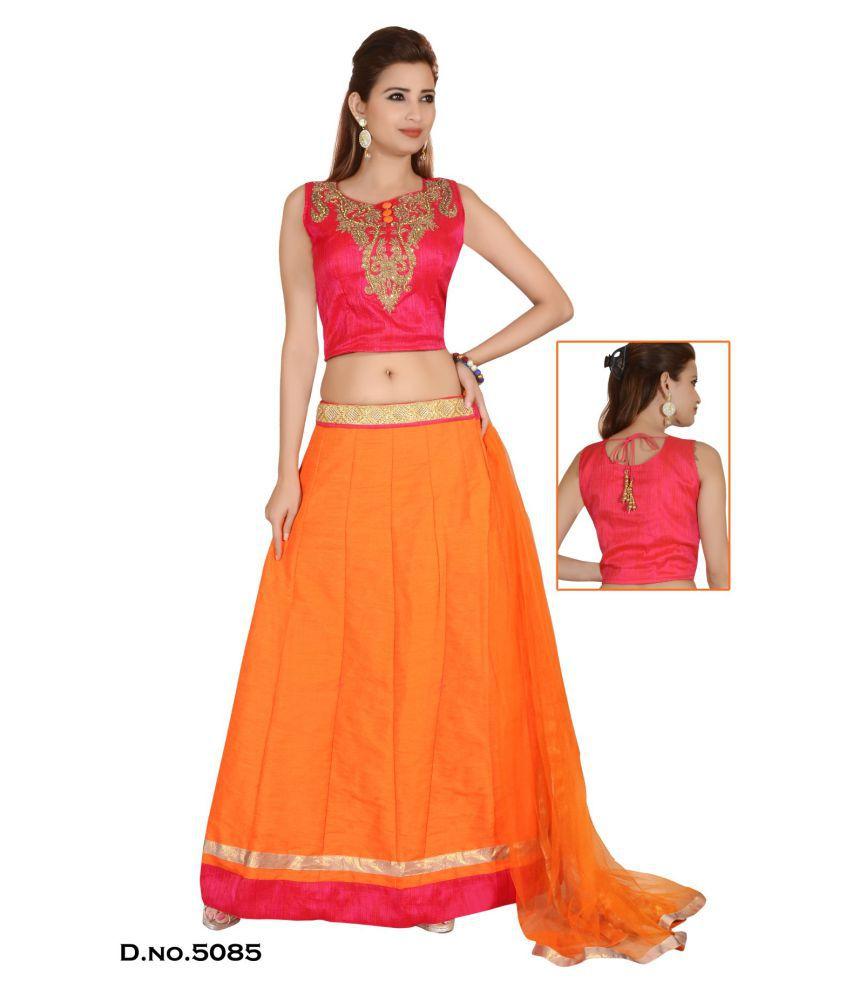 SUDARSHAN SILKS Orange Satin Saree