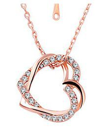 Om Jewells Fashion Jewellery Rose Gold Plated Double Heart Pendant Necklace\n Made with Crystal Elements for Girls and Women PD1000825