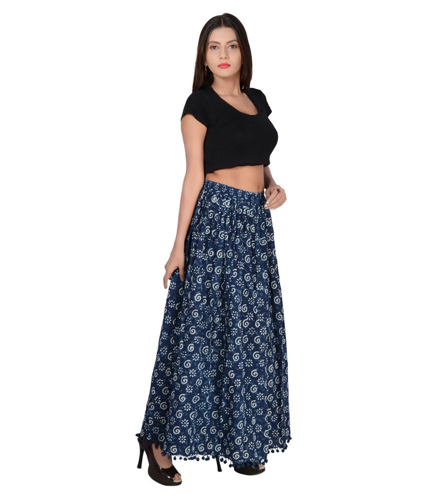e615fd8fc60 Buy fabcolors Cotton A-Line Skirt - Blue Online at Best Prices in ...
