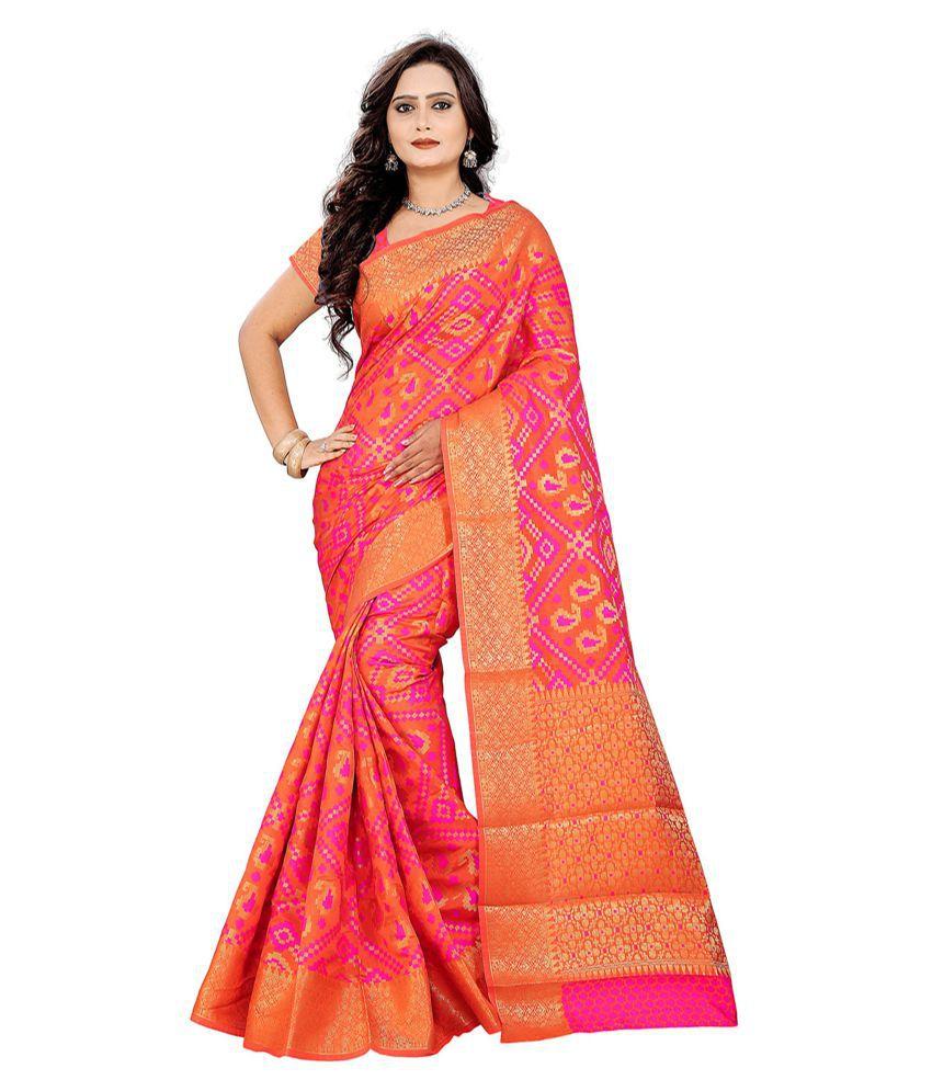 Saree Museum Red and Orange Banarasi Silk Saree