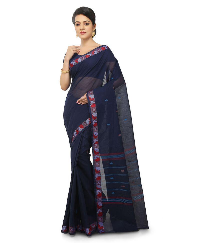 Pratamika Blue Cotton Saree