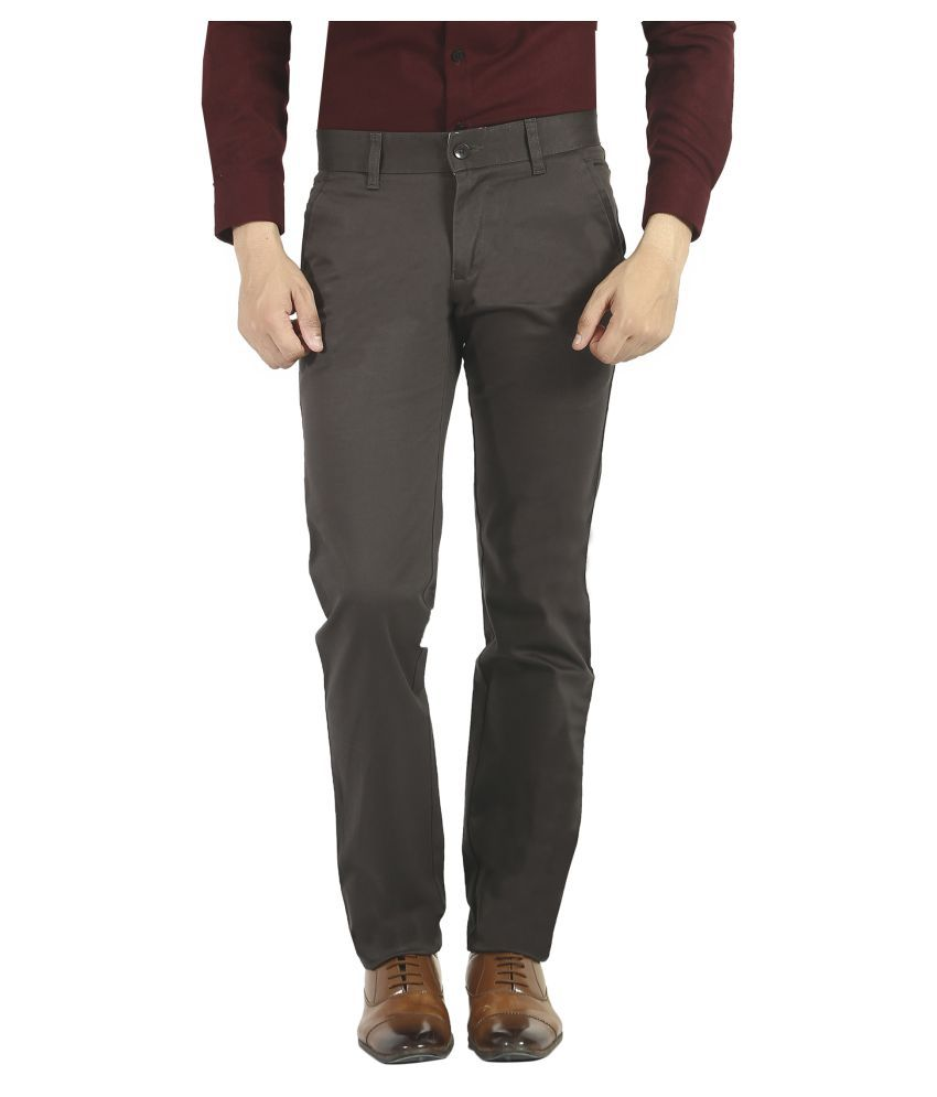 Pecos Bill Grey Slim -Fit Flat Trousers