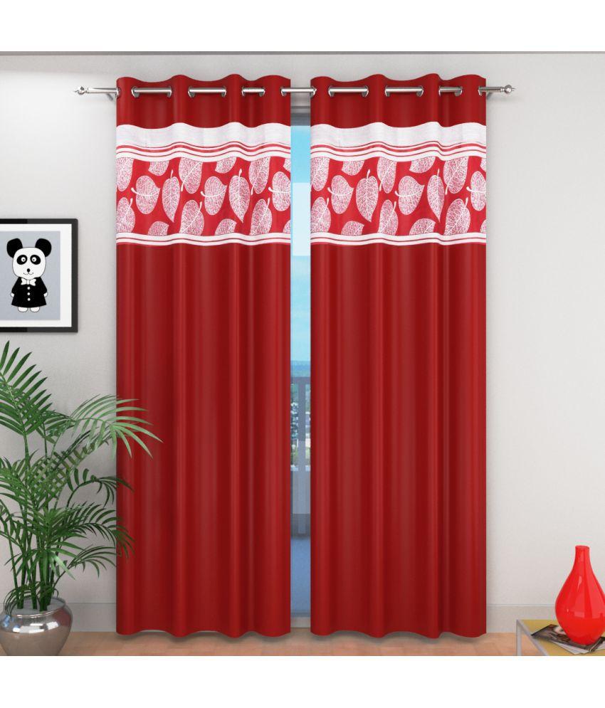 Shri Shyam Furnishing Single Window Eyelet Curtains Contemporary Maroon