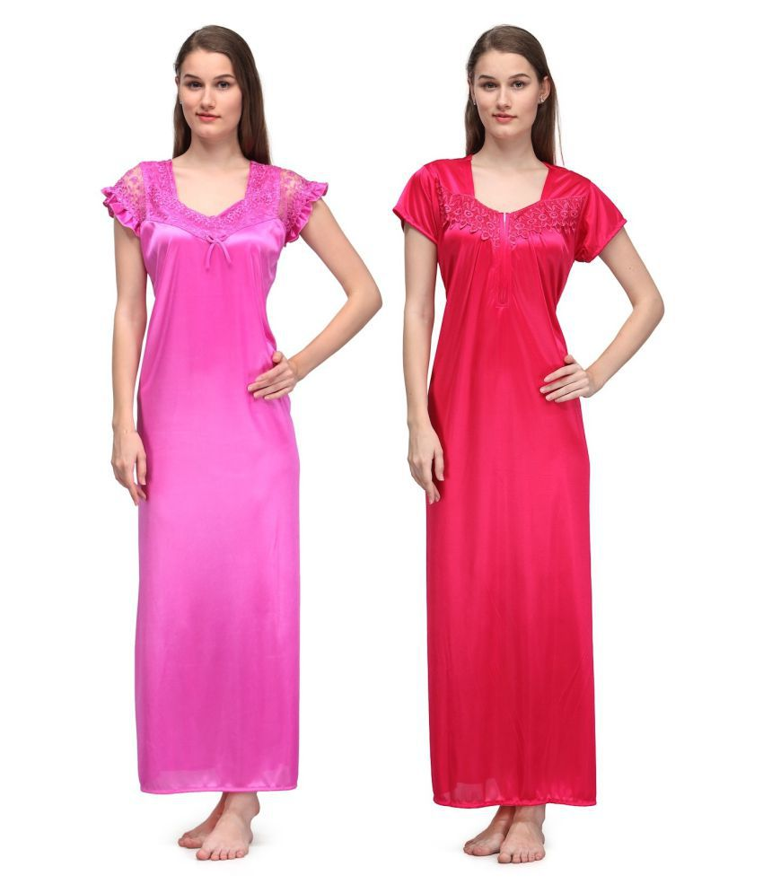 7417d5f416 Buy Oleva Satin Nighty & Night Gowns - Multi Color Online at Best Prices in  India - Snapdeal