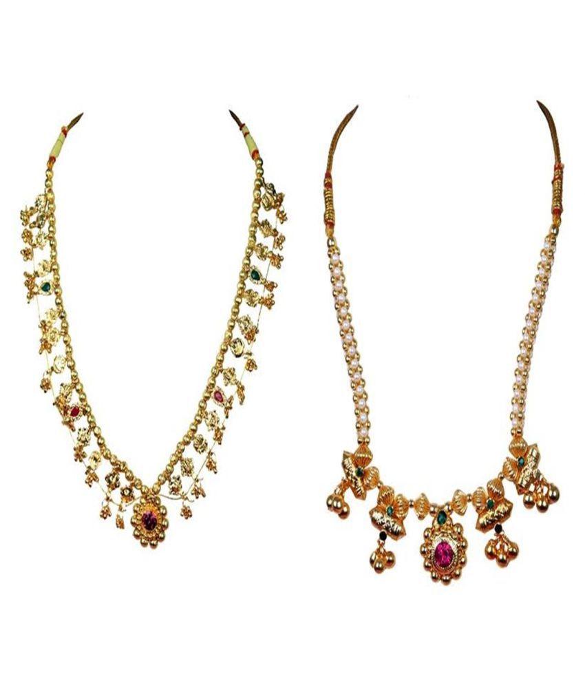 Soubhagya jewellers 14 panadi saaj and traditional thushi necklace