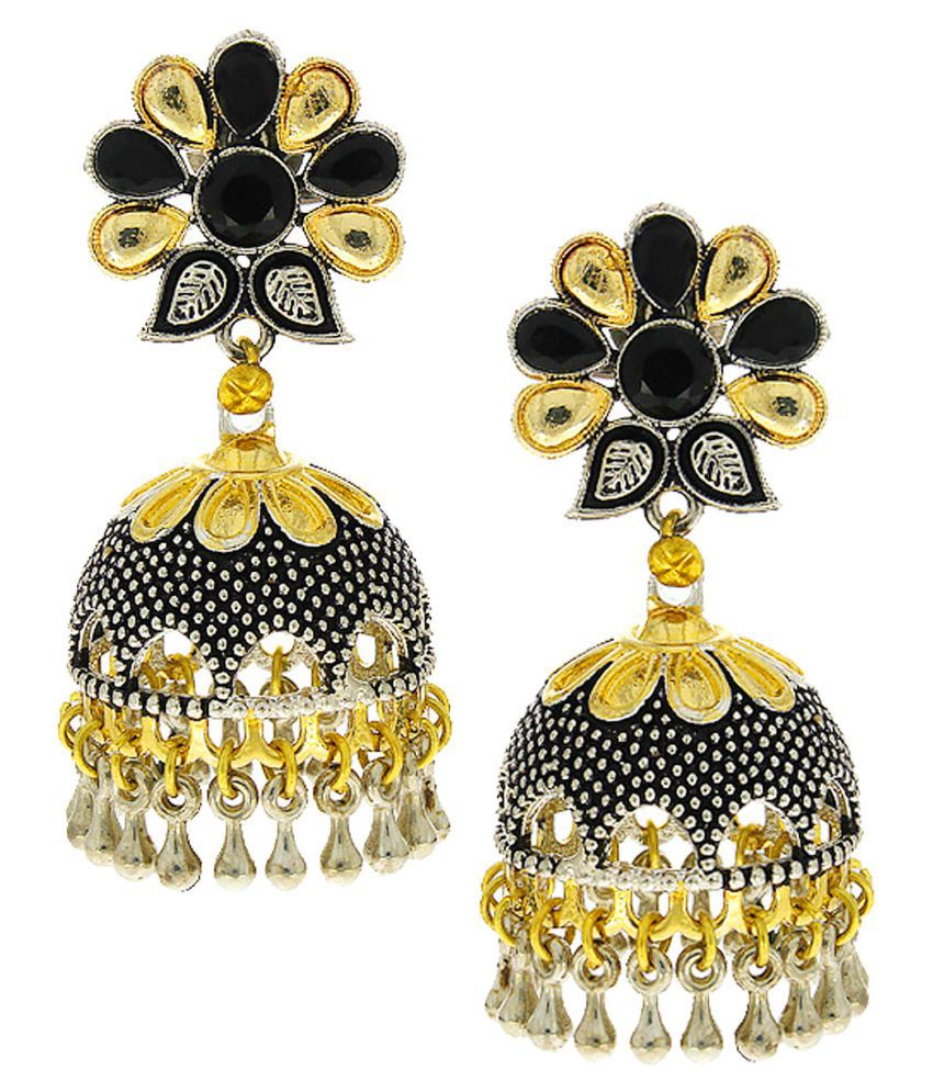Anuradha Art Black Colour Studded Sparkling Stone Eye-Pleasing Designer Oxidised Jhumki/Jhumkas Earrings For Women/Girls