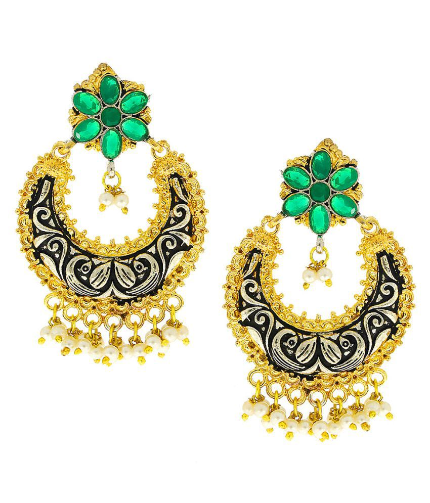 Anuradha Art Golden Tone Green Colour Chandbali Styled Wonderful Designer Oxidised Earrings For Women/Girls