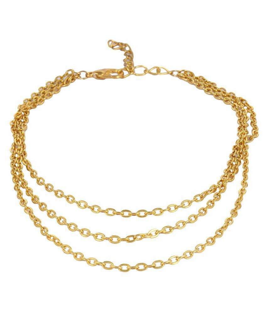 Fayon Fashion Statement Golden Three Layers Satellite Anklet (Single Piece)