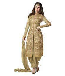 VastraParidhan Gold Georgette Dress Material