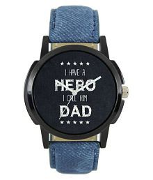 Maan International Stylish Hero Blue Leather Strap007 Anlogue Boy Watch