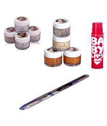 Shahnaz Husain facial kit and ONE BABY LIP CHERRY AND PEN FREE original gold diamond Facial Kit 40 gm Pack of 4