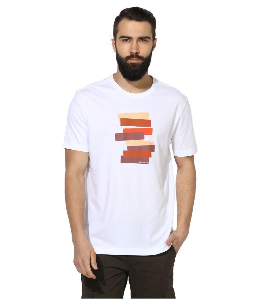 Red Tape White Round T-Shirt