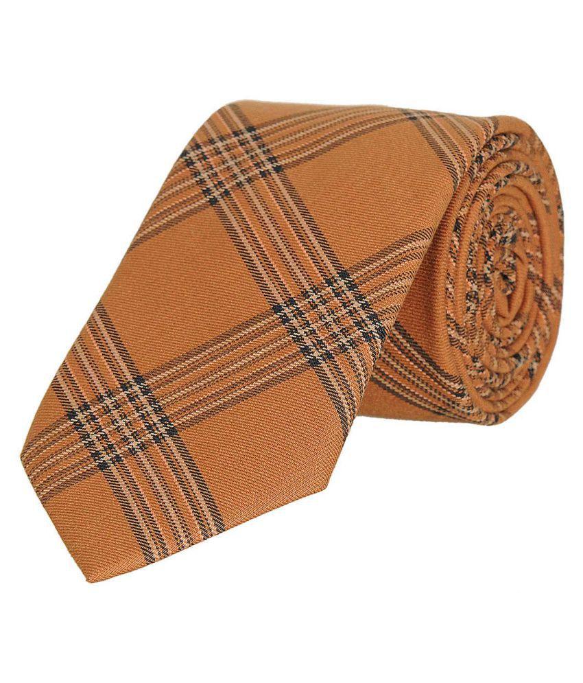 Tiekart Orange Checks Cotton Necktie