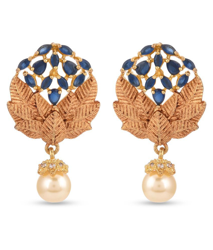 Tistabene Floral BlueStones Fashionable Stylish New Latest Trendy Designer Dangle and Pearl Drop Earring For Girls AndWomen (ER-3047)