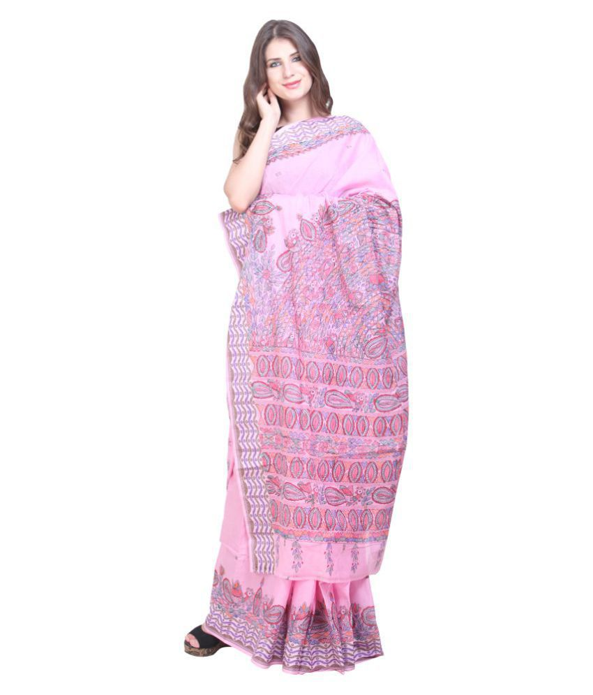 iMithila White and Pink Cotton Saree