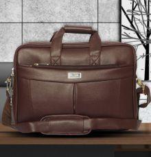 Sstl brown p.u leather office messenger bag