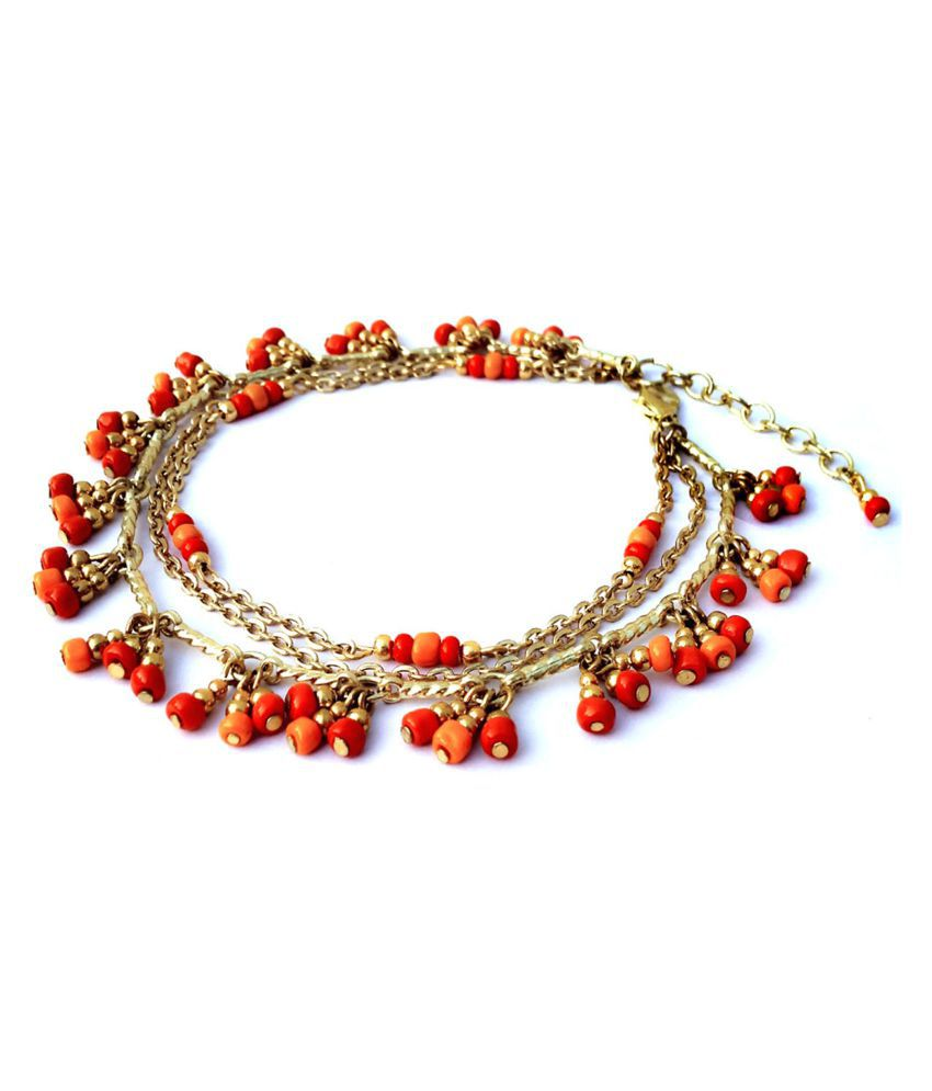 Coral & Red color glass bead Anklet.