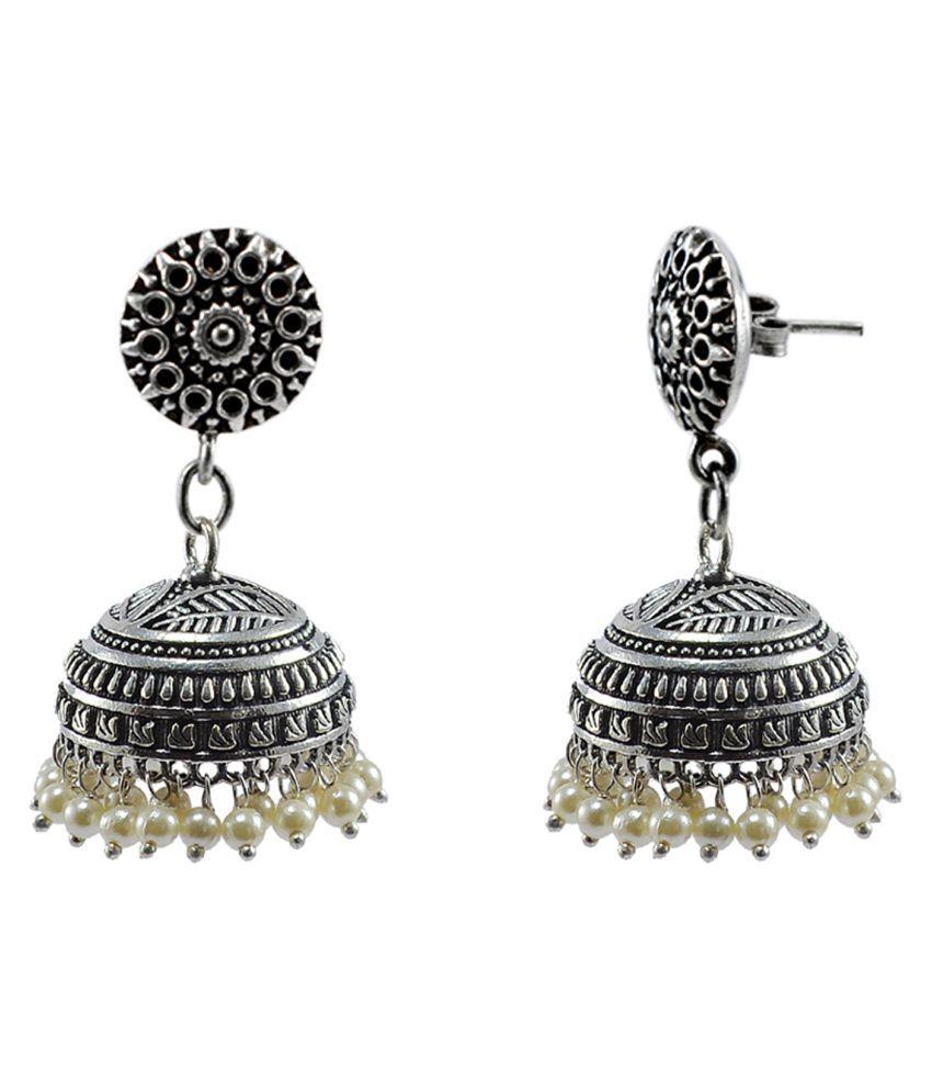 Traditional Round Jhumki-PEARL JHUMKA Earrings-Handmade Artisan By Silvesto India  PG 114700