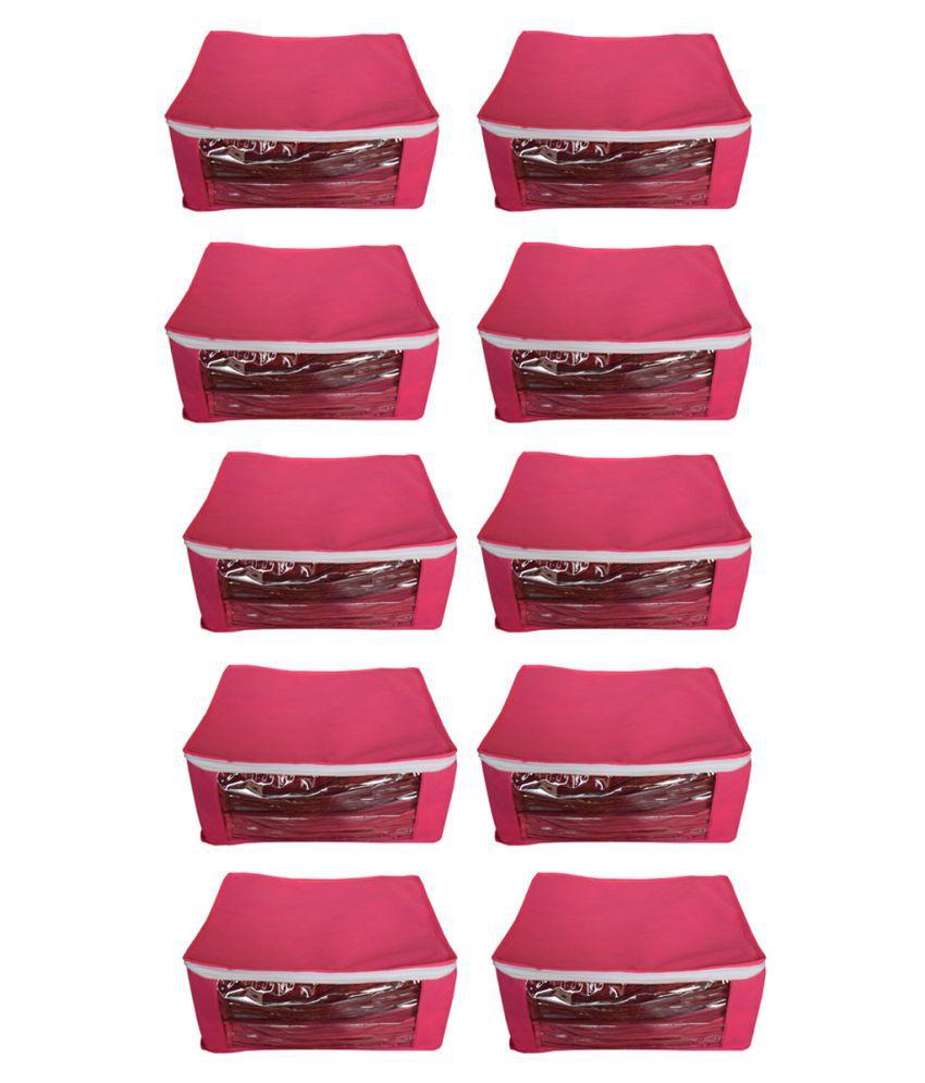 Aavni Pink Saree Covers - 10 Pcs