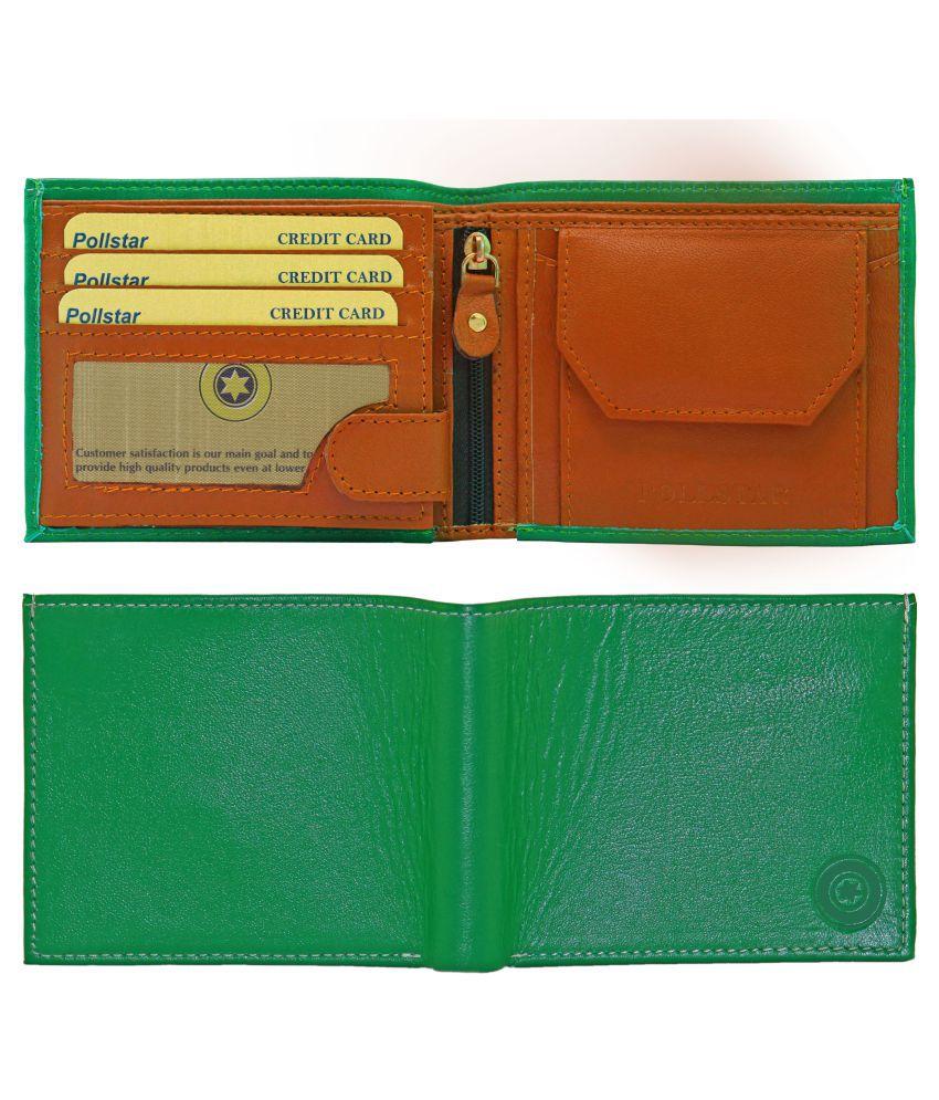 8fae36de13b17 POLLSTAR Leather Green Formal Regular Wallet  Buy Online at Low ...