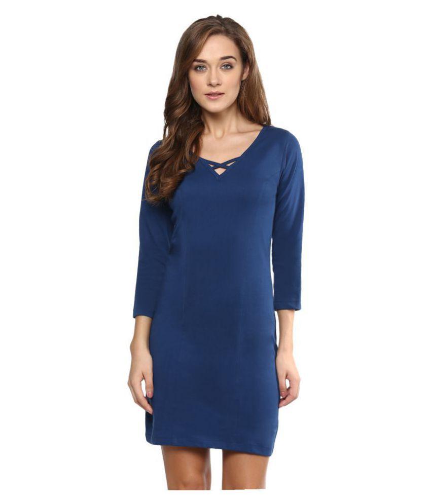 Miss Chase Cotton Blue Dresses