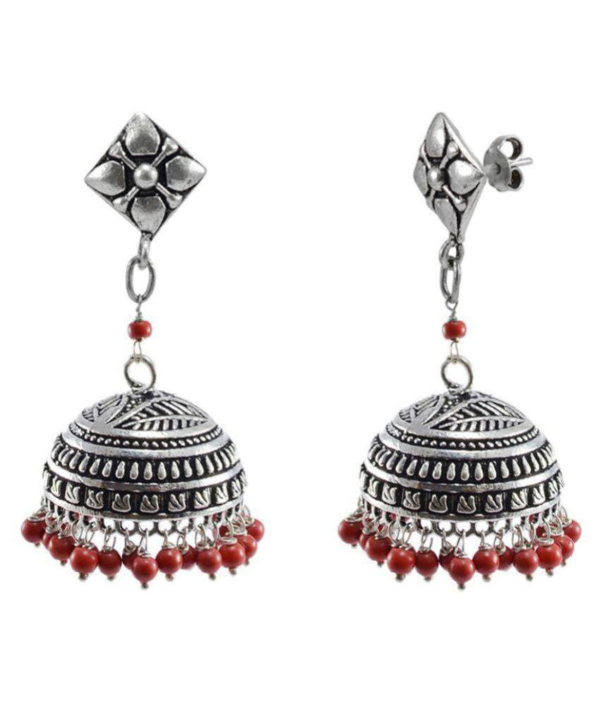 Jaipurn Earrings Studs Jhumkas with Hanging Treated Coral Beads Danglers Jhumki Earring-Silvesto India PG-122619