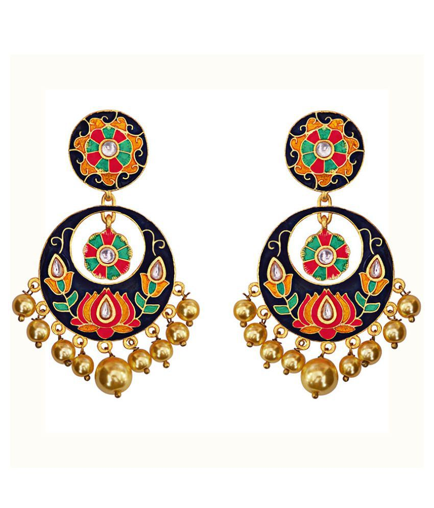 kundan meenakari antique big bali dangers earrings set
