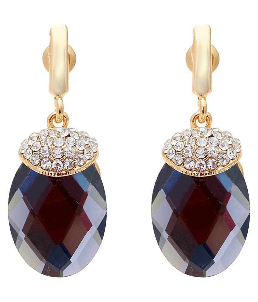 DzineTrendz Facetted Ash Grey Chequreboard Cut Oval Shape Stone Cubic Zirconia Brass Drop Earring